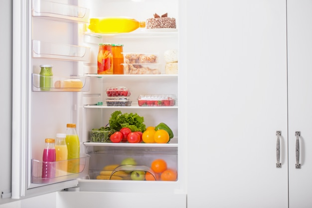 White fridge with different food