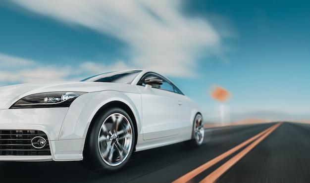 Белые передние машины бегают по дороге.