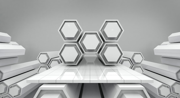 White futuristic hexagon and empty stage background, 3d rendering
