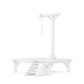 白い背景の上の粘土スタイルの掛かる縄ロープ結ばれた結び目と白い絞首台。 3dレンダリング