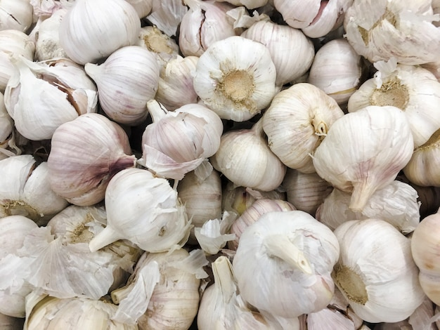 White garlic pile texture. fresh garlic on market table closeup photo. vitamin healthy food spice image.