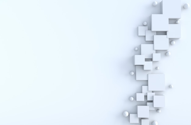 White geometric cube,polygon shapes,copy space background. realistic 3d render.