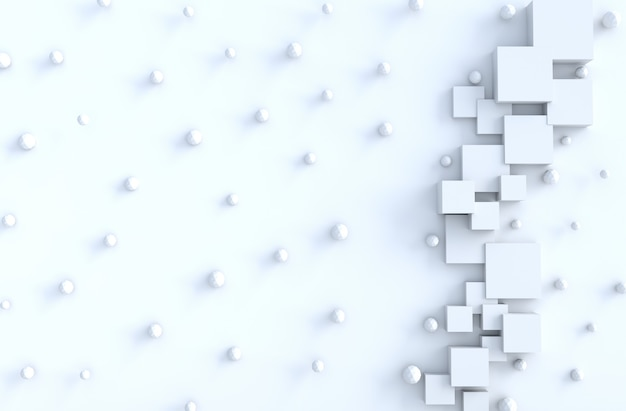 White geometric cube,polygon shapes,copy space background.