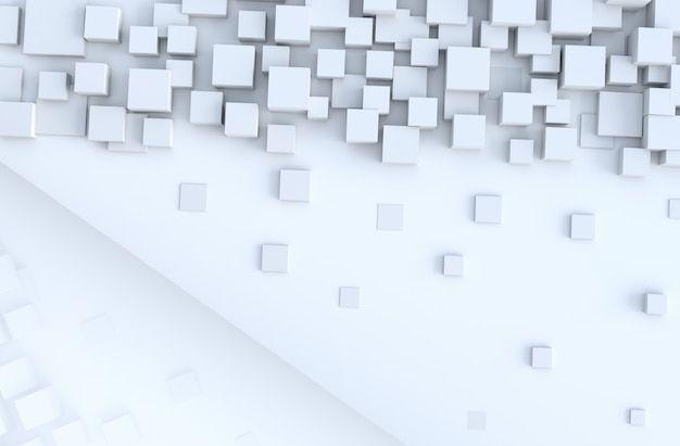 White geometric cube shapes  background. for design decorate. realistic 3d render.