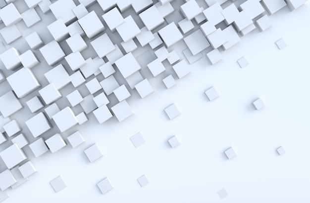 White geometric cube shapes background