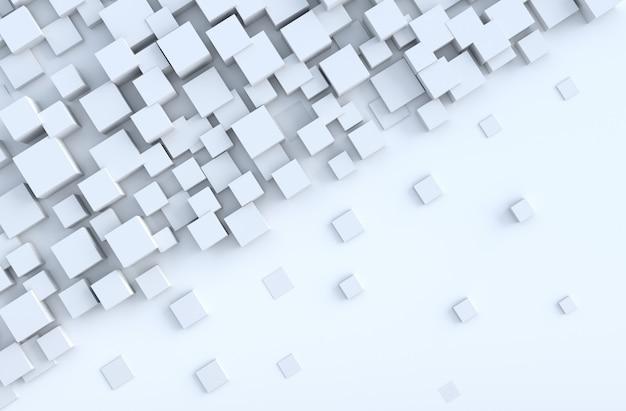 White geometric cube shapes background