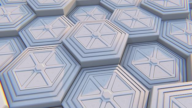 White geometric hexagonal abstract background. 3d illustration