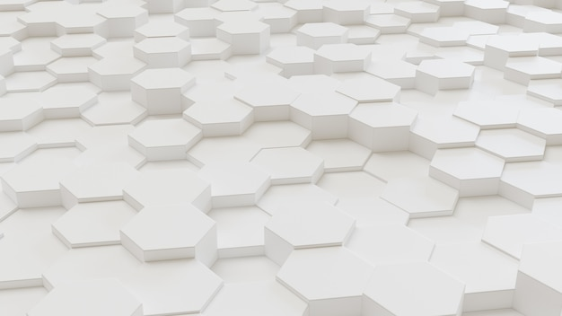 白の幾何学的な六角形の抽象的な背景.3 dレンダリング