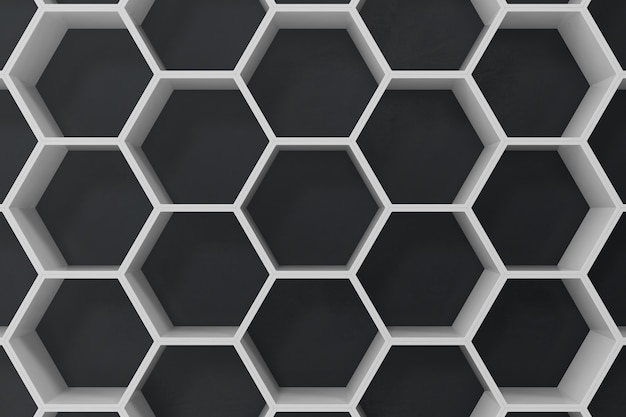 White geometric hexagonal abstract background with black wall, 3d rendering