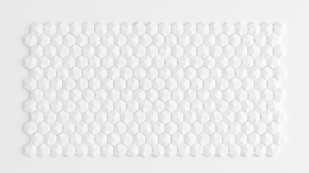 白い幾何学的なハニカム六角形の背景。 3dイラスト、3dレンダリング。