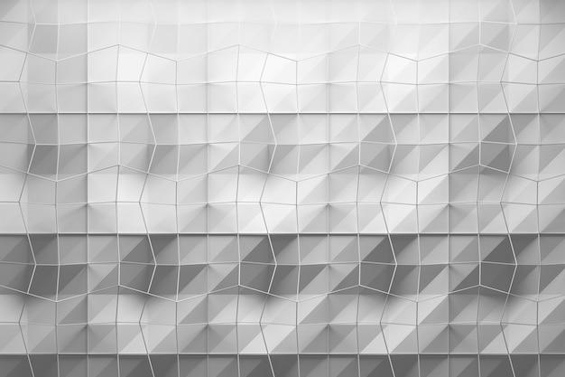 질감 표면과 와이어 메쉬 메쉬의 레이어가있는 흰색 기하학적 패턴