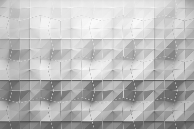 White geometric pattern with layers of textured surface and wire mesh mesh on top