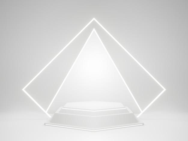 네온 불빛이 있는 흰색 기하학적 제품 스탠드. 3d 렌더링.