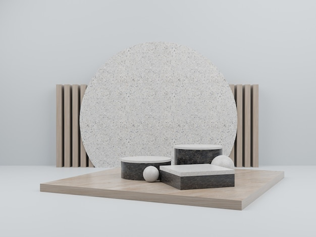 White geometric shape with wood podium for product display