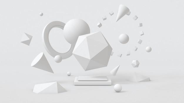 Белые геометрические фигуры. абстрактная иллюстрация, 3d-рендеринг.