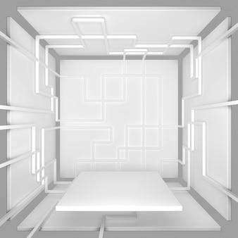 제품 프레 젠 테이 션 3d 그림에 대 한 흰색 기하학적 모양 큐브 스탠드