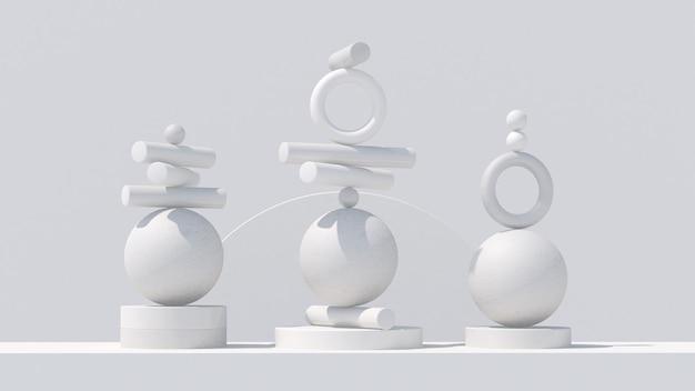 Белые геометрические фигуры. концепция равновесия. абстрактная иллюстрация, 3d визуализация.