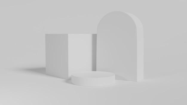 White geometric shapes, podium.3d rendered