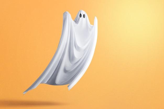 色付きの背景で出没する白い幽霊。ハロウィーンのコンセプト