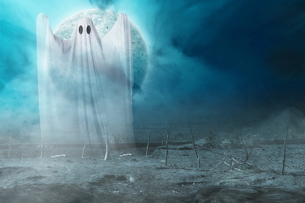 White ghost haunting with a night scene background. halloween concept
