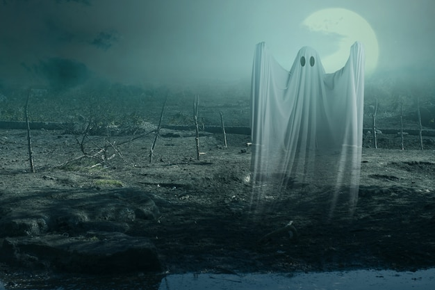 White ghost haunting with a night scene
