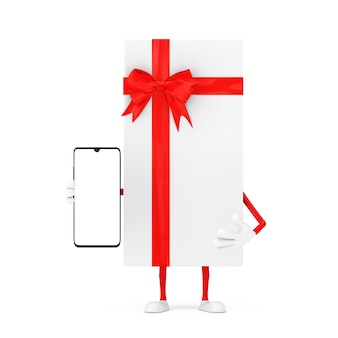 흰색 선물 상자와 빨간 리본 캐릭터 마스코트 및 흰색 바탕에 디자인을 위한 빈 화면이 있는 현대적인 휴대전화. 3d 렌더링