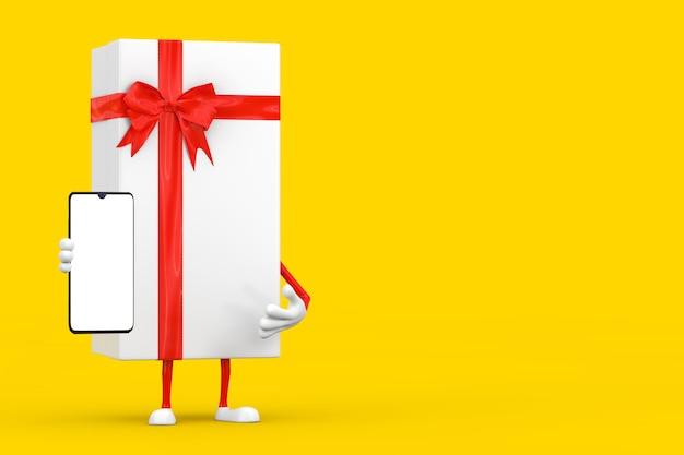 노란색 배경에 디자인을 위한 빈 화면이 있는 흰색 선물 상자와 빨간 리본 캐릭터 마스코트 및 현대 휴대전화. 3d 렌더링