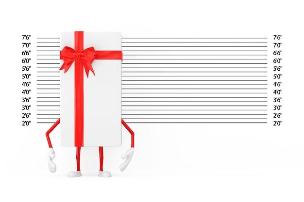 경찰 라인업 또는 mugshot 배경 극단적인 근접 촬영 앞의 흰색 선물 상자와 빨간 리본 캐릭터 마스코트. 3d 렌더링