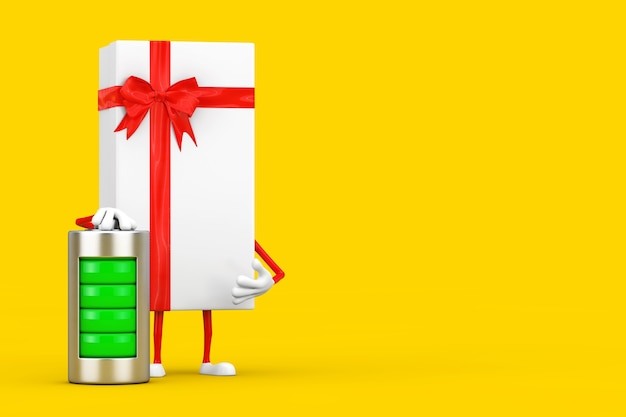 Белая подарочная коробка и талисман характера красной ленты с абстрактной заряжающей батареей на желтой предпосылке. 3d рендеринг