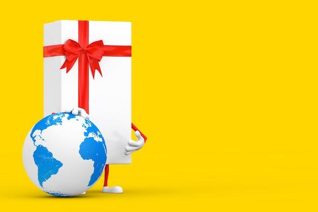 노란색 배경에 지구 글로브가 있는 흰색 선물 상자와 빨간 리본 캐릭터 마스코트. 3d 렌더링