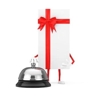 白いギフトボックスと白い背景にホテルサービスベルコールと赤いリボンのキャラクターのマスコット。 3dレンダリング