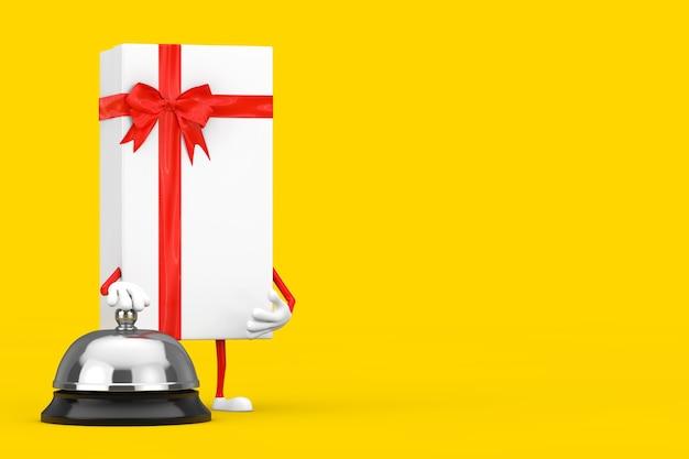 黄色の背景にホテルサービスベルコール付きの白いギフトボックスと赤いリボンのキャラクターマスコット。 3dレンダリング