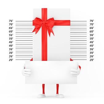 경찰 라인업 또는 mugshot 배경 극단적인 근접 촬영 앞에 식별 플레이트가 있는 흰색 선물 상자와 빨간 리본 캐릭터 마스코트. 3d 렌더링