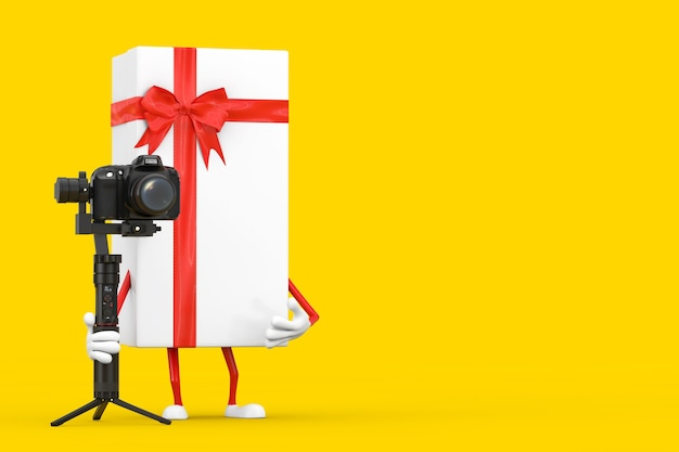 White gift box and red ribbon character mascot with dslr or video camera gimbal stabilization tripod system on a yellow background. 3d rendering