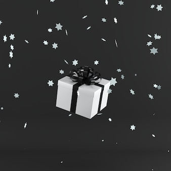 White gift box with black color ribbon on black color background