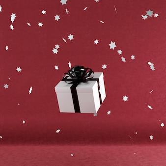 White gift box with black color ribbon on red velvet color background