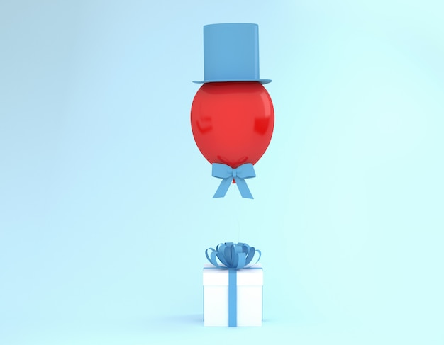 White gift box with blue ribbon and balloon with hat on blue background.
