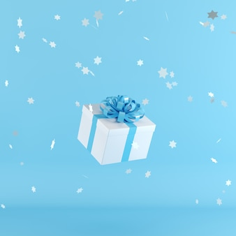 White gift box with blue ribbon on blue background