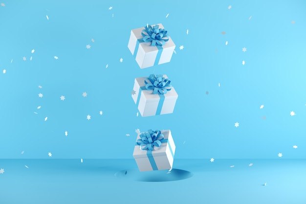 White gift box with blue ribbon color floating on blue background
