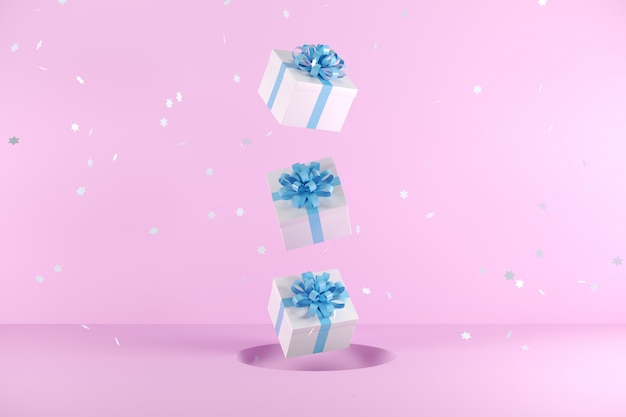 White gift box with blue ribbon color floating on pink background