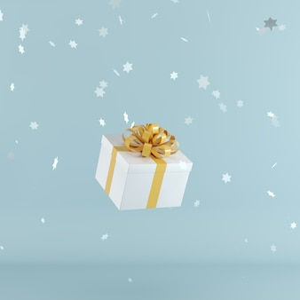 White gift box with orange color ribbon on blue color background