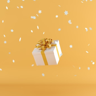 White gift box with orange color ribbon on orange color background