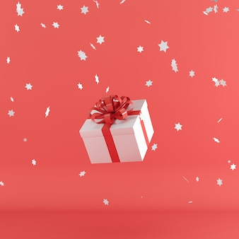 White gift box with red color ribbon on red color background