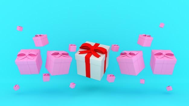 파란색 배경., 3d 렌더링에 떠있는 많은 분홍색 선물 상자 가운데 빨간 리본이 달린 흰색 선물 상자.