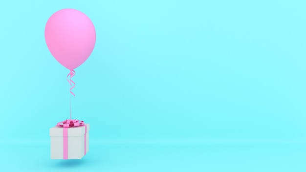 빨간 리본 및 파란색 배경에 분홍색 풍선 흰색 선물 상자., 최소한의 크리스마스와 newyear 개념., 3d 렌더링.