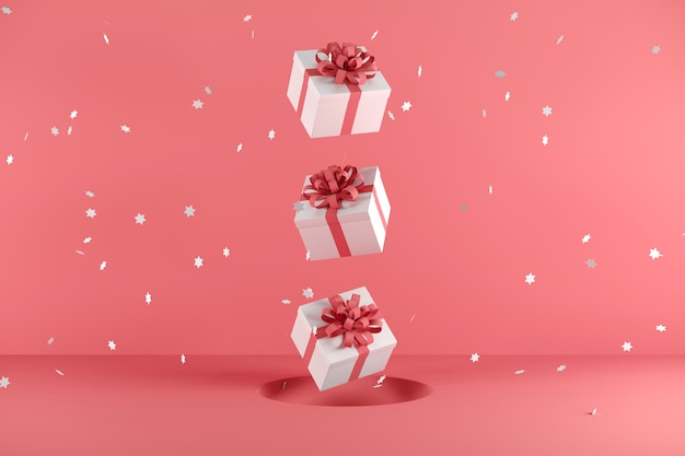 White gift box with red ribbon color floating on red background