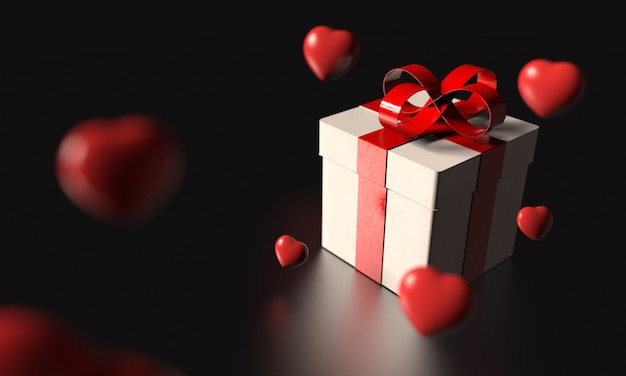 White gift box with red ribbon and many rainy heart dropping from sky