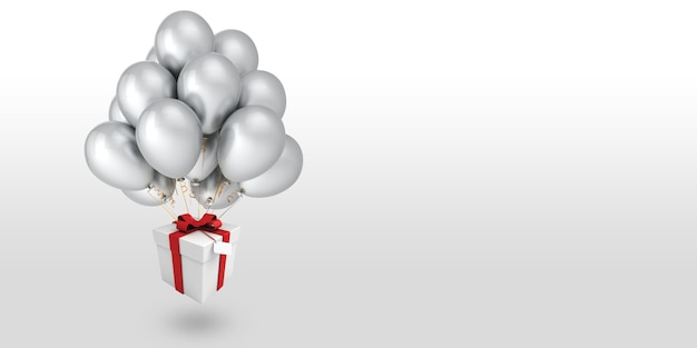 White gift box with a red ribbon tied up with balloons and floating on a white background
