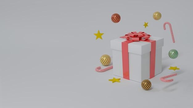 Белая подарочная коробка с красной лентой Premium Фотографии