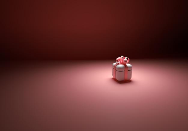 분홍색 배경 d 그림에 장미 분홍색 활이 있는 흰색 선물 상자